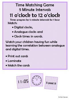 Time - 11 o'clock to 12 o'clock by 5 minute intervals