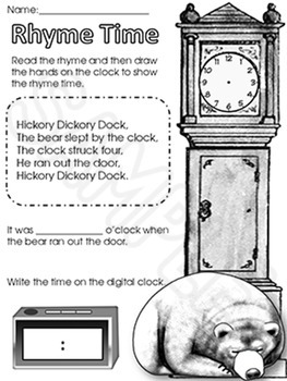 Telling Time for Beginners with Hickory Dickory Dock and Tell Time to the Hour
