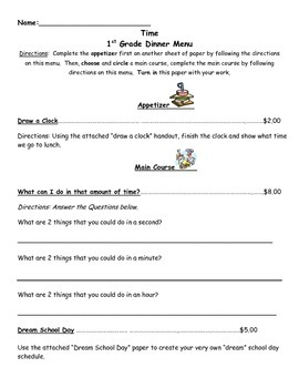 Time 1st Grade Cafe Enrichment Menu