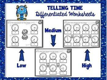 Time to the Hour and Half Hour Differentiated Worksheets