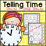 """Telling Time Worksheets """"to the Hour and to the Half Hour"""""""