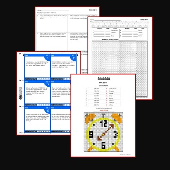Elapsed Time Word Problems Coloring Worksheets