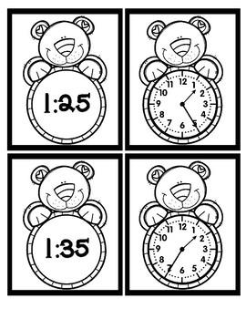 Time - 5 Minute Intervals - Bear - Black & White