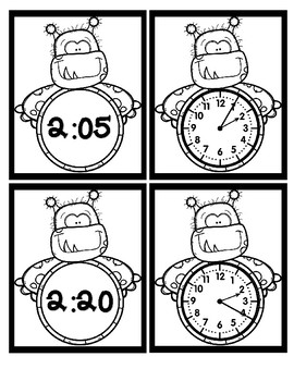 Time - 5 Minute Intervals - Monsters - Black & White