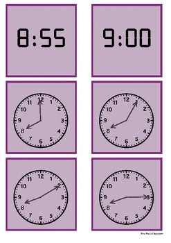 Time - 8 o'clock to 9 o'clock by 5 minute intervals