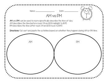Time: AM vs PM Graphic Organizer
