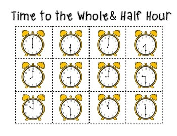 Time Activities: whole, half and quarter hour