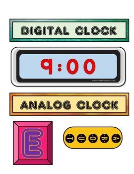 Time Analog and Digital Anchor Chart