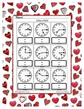 Time ~ Analog to Digital Quarter Past Time ~ One Work Sheet ~ Seasons / Holidays