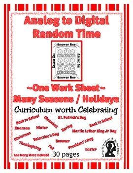 Time ~ Analog to Digital Random Time  ~ One Work Sheet ~ Many Seasons / Holidays