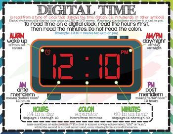 Measurement & Data: Time Anchor Charts (English & Español)