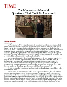 Time Article and Notebook Question for the Monuments Men