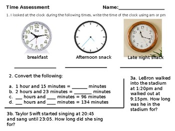 Time Assessment Test Grade 5 and 6