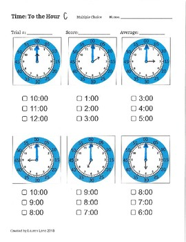 Time Assessment Worksheets for Special Education.