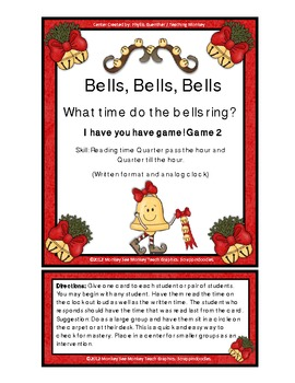 Time: Bells: Qrt.  Pass Hour and Qrt. Till  Hour /Christmas Theme Game 2