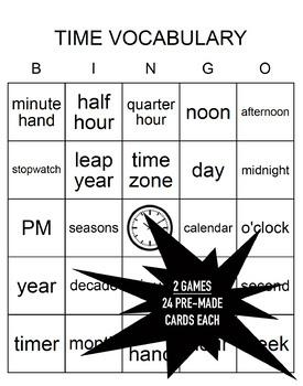 Time Vocabulary Bingo