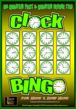 Clock Bingo (Time Bingo) - QUARTER PAST & QUARTER TO - 64 Bingo Cards