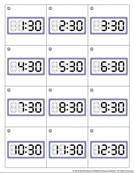 Time Bingo Package - Hour (:00) & Half Hour (:30) Clock Mix (24 Cards Included)
