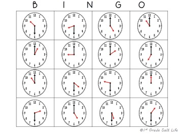 Time Bingo!  Hour and Half-Hour!