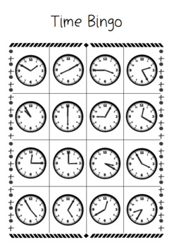 Time Bingo - Math Measurement Game