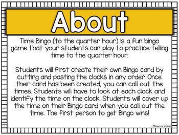 Time Bingo (Time to the Quarter Hour)