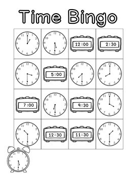 Time Bingo for 1st Grade- Time to the Hour and Half-Hour, 24 UNIQUE Cards