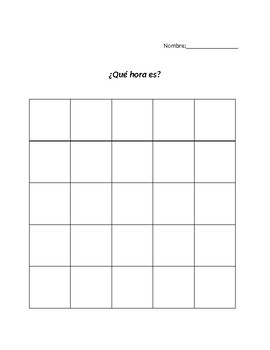 Time Bingo in French or Spanish
