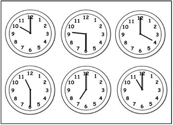 Time Bingo - o'clock and half past