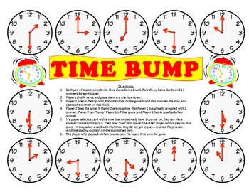 Time Bump - A Game to Practice Telling Time to the Nearest Hour and Half Hour