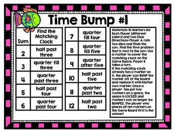 Time Bump-Two Games for Using Quarter Till, Half Past, and Quarter Past