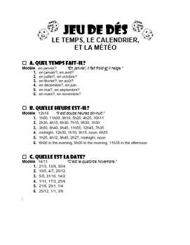 Time, Calendar, Weather in French - Dice Game