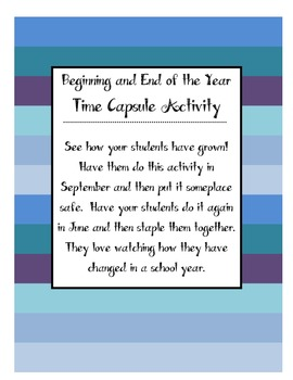 Time Capsule Activity - Beginning of the Year and End of the Year Activity