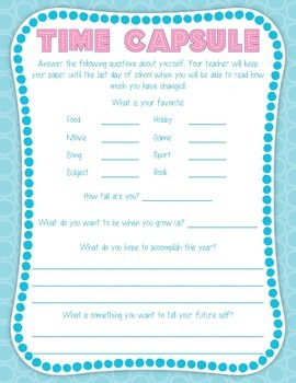 Time Capsule Back to School Activity