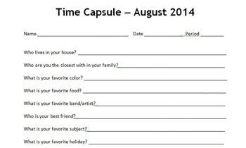 Time Capsule - Beginning and End of the year