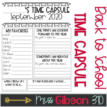 image about Time Capsule Printable Worksheets called 2018 Period Capsule Worksheets Education Products TpT