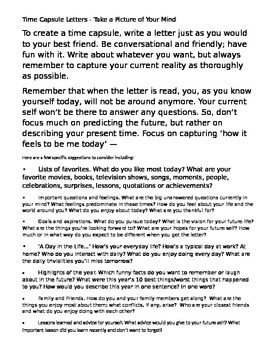 Time Capsule Letter to Your Future Self Creative Writing Assignment