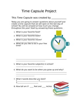 Time Capsule Project- Upper Elementary