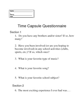 Time Capsule Questionaire