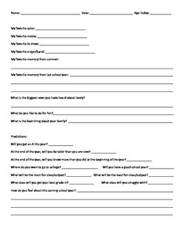 Time Capsule Questionnaire - Beginning and End of the Year