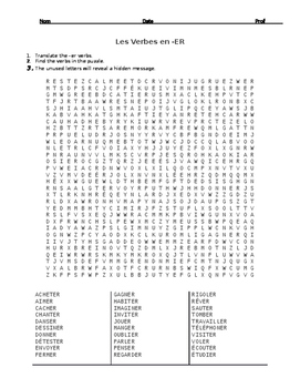 French ER Verb Wordsearch