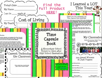 Time Capsule and Memory Book Project for the End of the School Year