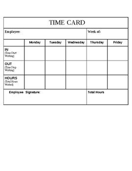 Time Card Template for Beginners