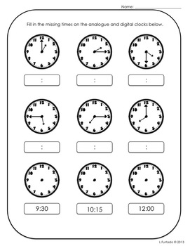 Time: It's Turkey Time - telling time practice and review activities