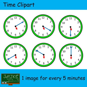Time / Clock Clipart with 5 minute intervals