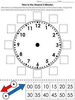time clock cut and paste activity telling time to the nearest 5 minutes. Black Bedroom Furniture Sets. Home Design Ideas
