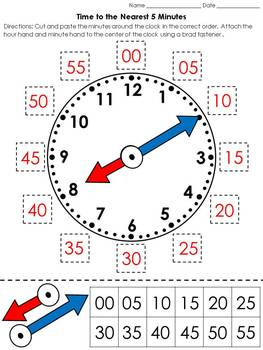 Time: Clock Cut and Paste Activity - Telling Time to the N