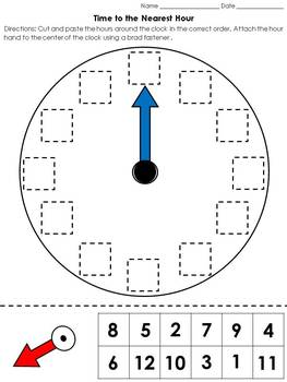Time: Clock Cut and Paste Activity - Telling Time to the Nearest Hour