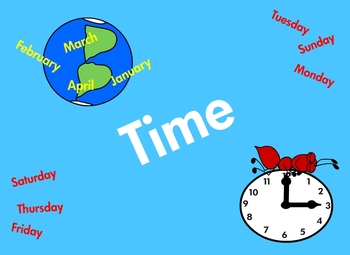 Time Clock, Days of the Week, Calendar, Months, Morning, Afternoon, Evening