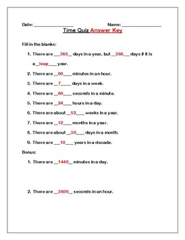 Time Concepts Quiz or Review