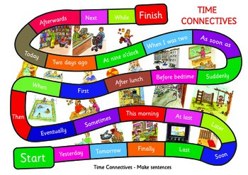 Time Connectives Game. A3 size. Make up sentences